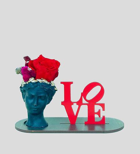 LOVE - Helen Saksıda  Kırmızı Solmayan Gül