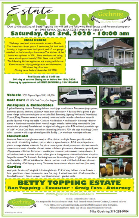 Live Real Estate & Household Auction