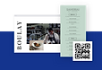 Three overlapping images: A restaurant website homepage, a menu, and a black-and-white QR code.