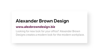 SEO header and description for Alexander Brown Design's website.