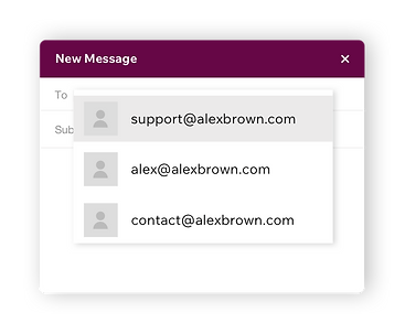 Custom professional email addresses for a business called Alex Brown.