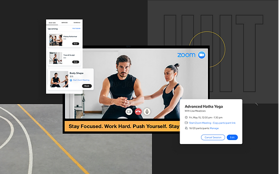 Paused video of an online fitness class on Zoom. Options to sign up for an online fitness class.