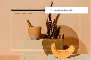 Custom domain name for a business called Alloy Design over a website template.