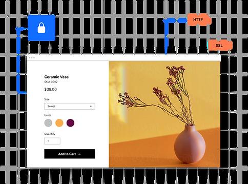 Secure encrypted website for a website selling vases.