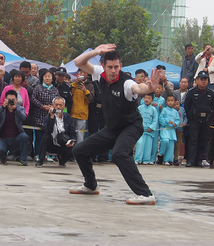 Picture: Laurence performing Bajiquan at Wu Zhong Bajiquan Research Association festival in Cangzhou, the birthplace of Bajiquan style Chinese martial art.