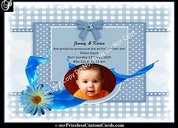 Tiny Feet Boys Baby Arrival E-Card