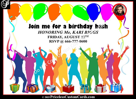Party's On B-Day Bash Invite E-Card