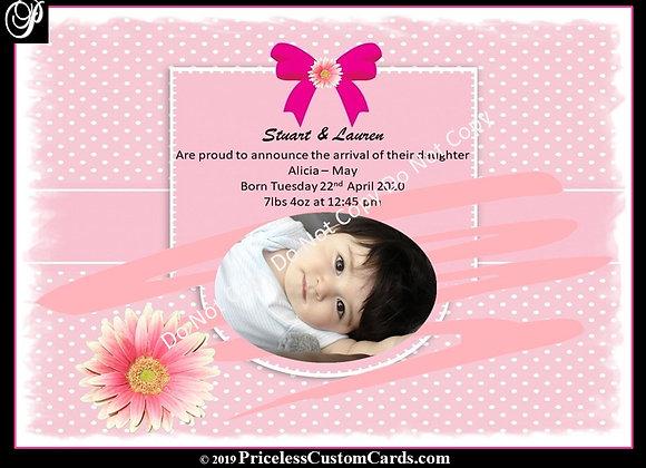 Tiny Feet Girls Baby Arrival E-Card