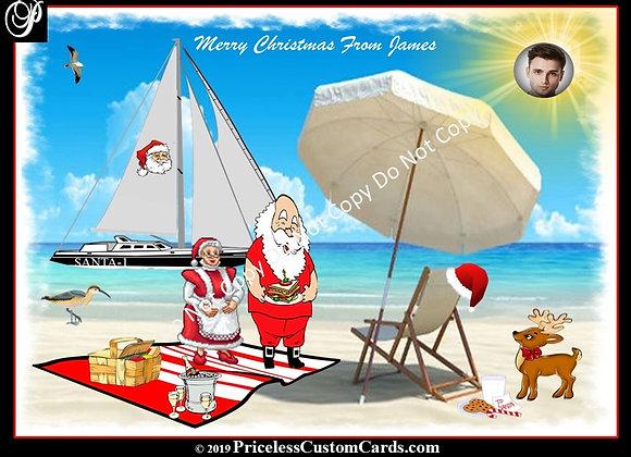 Santa's On Vacation Card