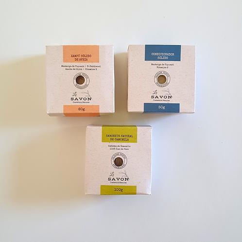 Kit xampú de aveia + condicionador +sabonete de camomila