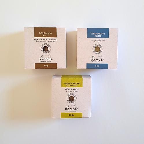 Kit xampú de juá + condicionador +sabonete de camomila