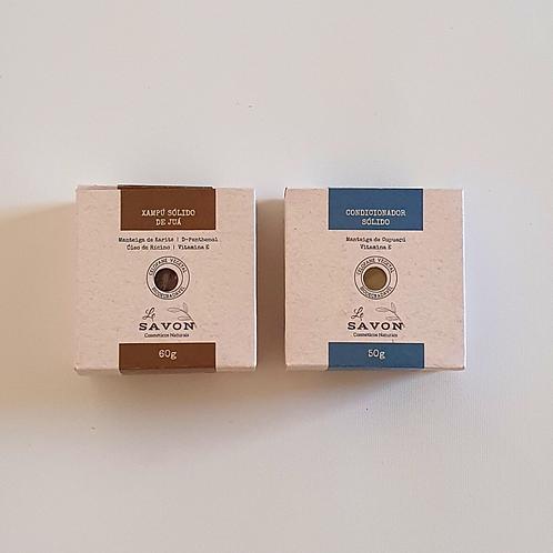 Kit xampú de juá + condicionador sólidos