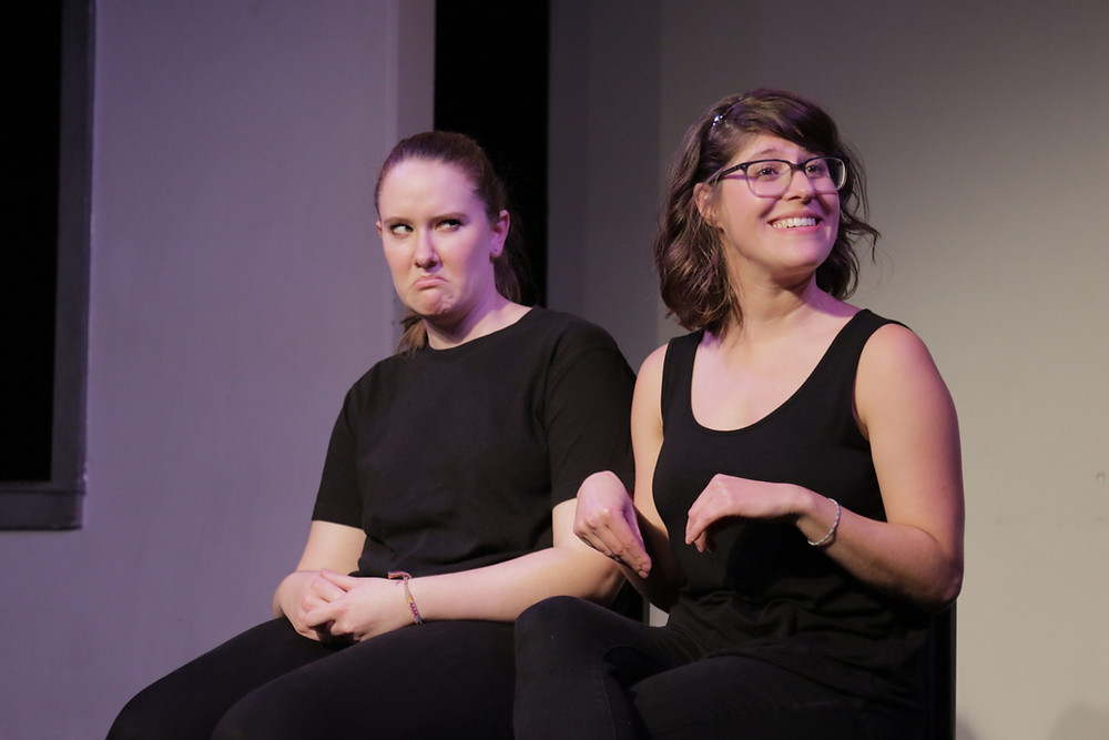 Elena Skopetos and Elana Fishbein performing at the Magnet Theater in NYC