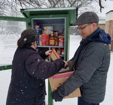Filling Blessing Boxes in the Snow