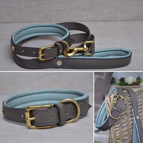 Padded Leathe Collar BabyBlue