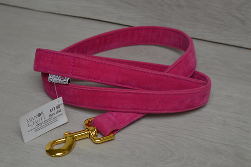 25MM CERISE FAUX SUEDE LEAD