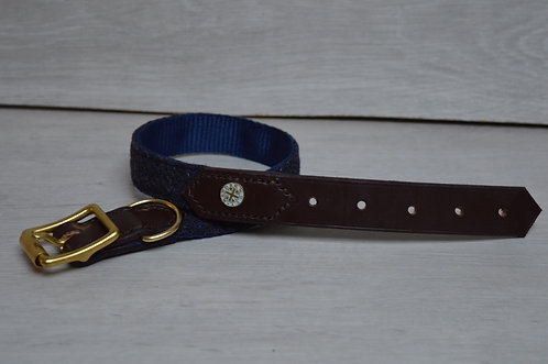 Navy speckle Half Leather Collar