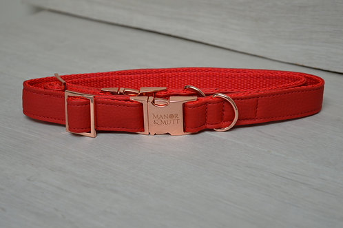 RED FAUX LEATHER COLLAR