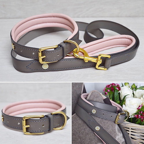 Padded Leather Collar Baby Pink