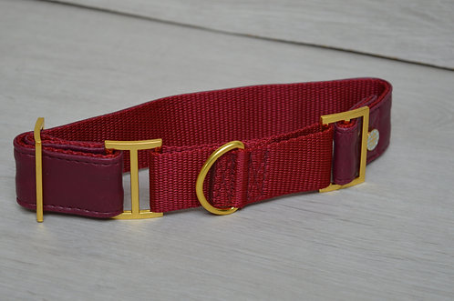 WINE FAUX LEATHER MARTINGALE COLLAR