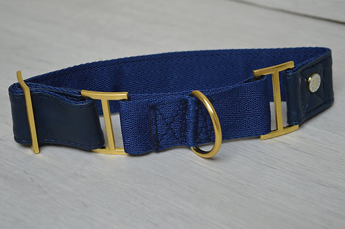 NAVY FAUX LEATHER MARTINGALE COLLAR