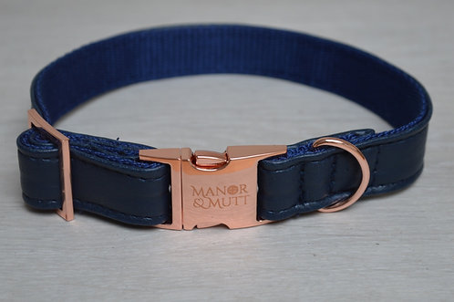 Navy Faux Leather Collar