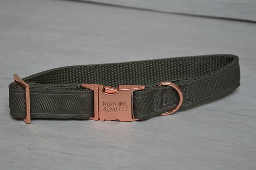 OLIVE PVC BACKED COLLAR 45CM