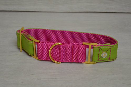 WATERMELON FAUX LEATHER MARTINGALE COLLAR