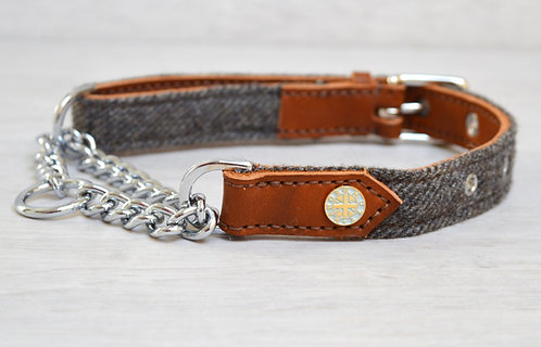 Leather & Tweed Half Check Collar