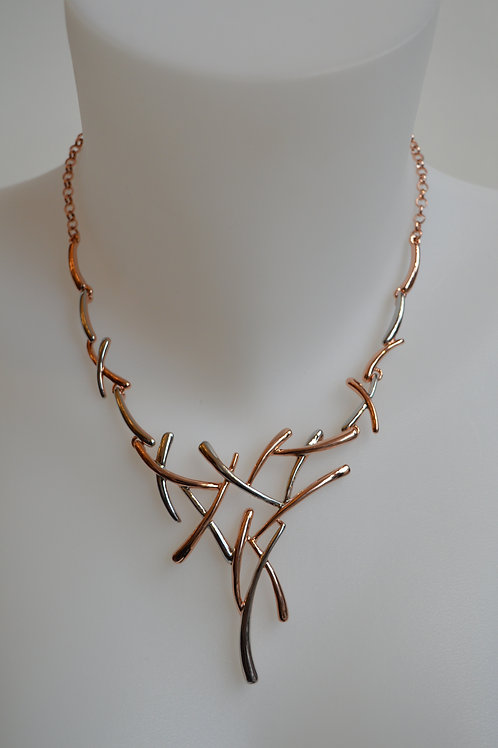 Mix Metal Contemporary V shape Necklace