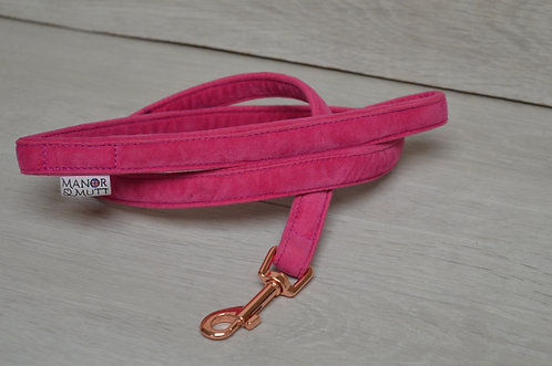 16MM CERISE FAUX SUEDE LEAD
