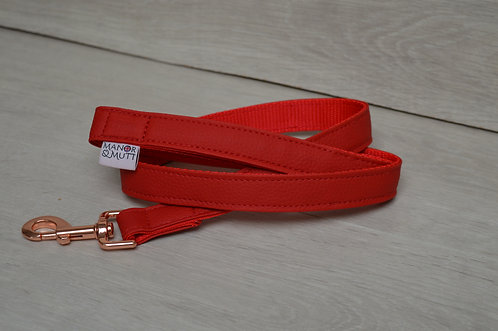 RED FAUX LEATHER LEAD 25MM