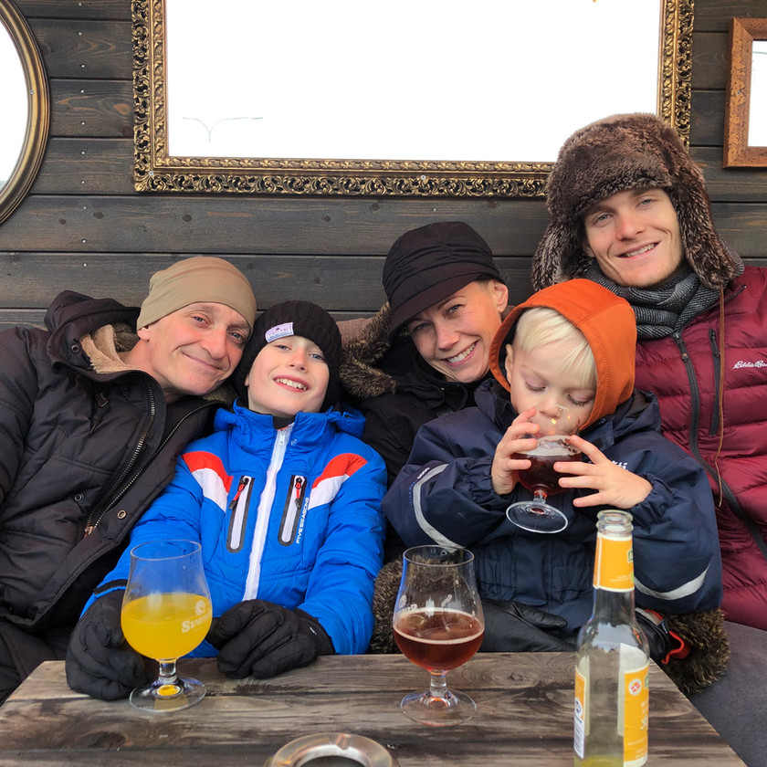 Uncle Fini, Aunt Pernille, and cousins Louie and Felix