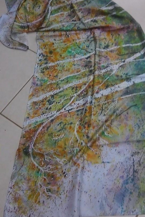 Silk scarf with watercolor motiv