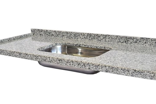 Tampo de pia em granito cinza corumbá 180cm x 55cm com cuba Tramontina
