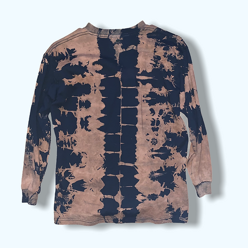 Youth Large Long Sleeve Bleached Tire Mark Tie Dye Shirt