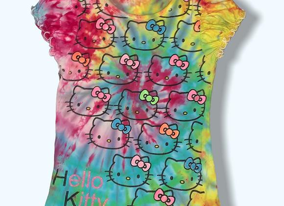 Girls Medium Hello Kitty Mystical Rainbow Tie Dye Upcycled Shirt
