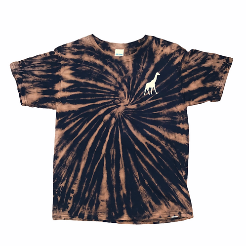 Youth Large Giraffe Bleached Tie Dye Shirt