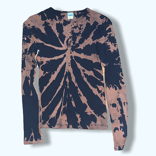 Girl's Small Upcycled Bleached Tie Dye Long Sleeve Shirt