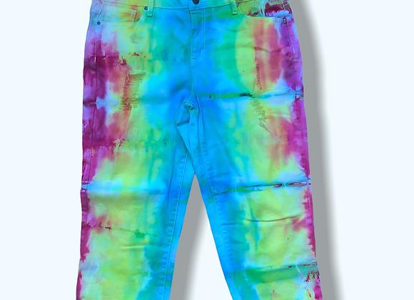 Women's 12 /14Mystical Rainbow Tie Dye Stretch Jean Upcycle