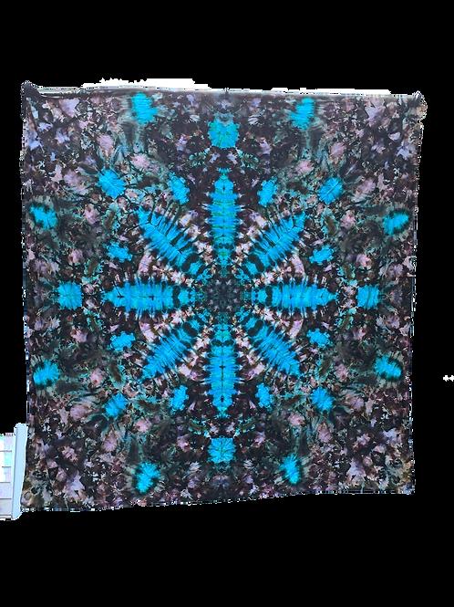 8 ft. x 8 ft. Blue Flower Tie Dye Tapestry