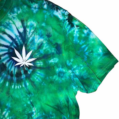 Adult XL Pot Leaf Blue Dream Tie Dye Shirt