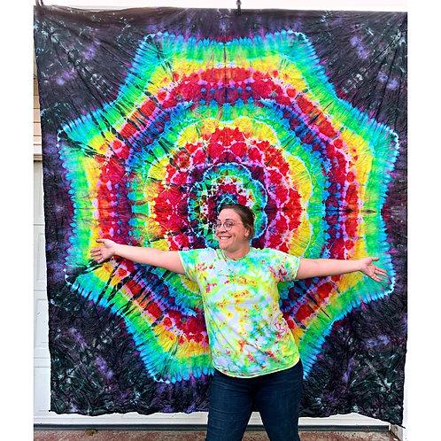 7 ft. x 8 ft. Mandala Mystical Rainbow Tie Dye Tapestry