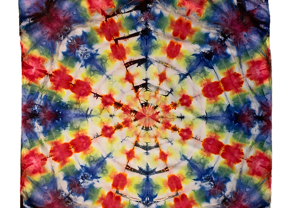 3 ft. by 3 ft. Red Electric Burst Tie Dye Tapestry