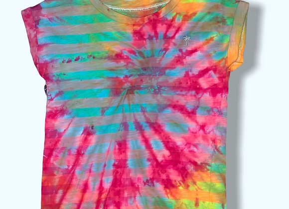 Girl's XS Mystical Rainbow Striped Tie Dye Shirt Upcycle