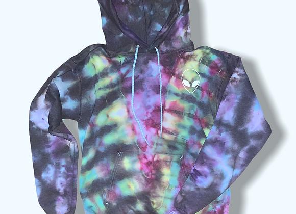 Adult SmallAlien Rainbow Body Tie Dye Pullover Hoodie