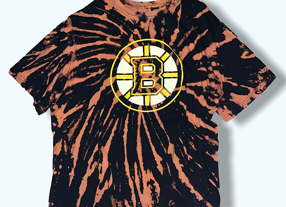 Adult 2X/3X Bruins Bleached Tie Dye Upcycled Shirt