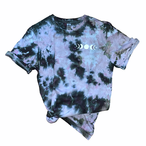 Small Moon Phase Adult Tie Dye Shirt