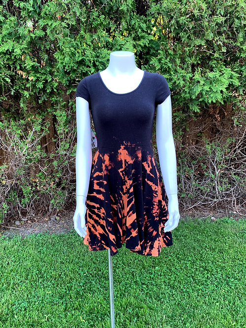 XS Bleached Tie Dye Mini Dress Crochet Back Upcycled
