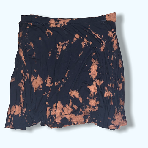 L/XL Upcycled Bleached Tie Dye Mini Skirt
